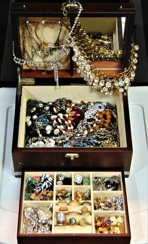 Wearable Costume Jewelry Box Lot Necklaces Bracelets Earrings Watch Ring Estate