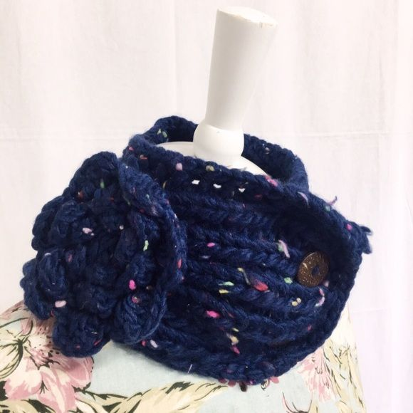 """Navy Knit neck warmer KNIT NECKWARMER  Approx. 12"""" length, 5.0"""" width 100% Acrylic One size fits most Stretchable Button closure Detachable floral brooch or pin New  Navyget it on my site for $10.00on ✨www.stylewarriorboutique.com✨ new customers use Promo code """"New10"""" for a 10%discount on your order.🔥follow my IG:Stylewarrior_Boutique🔥 Accessories"""