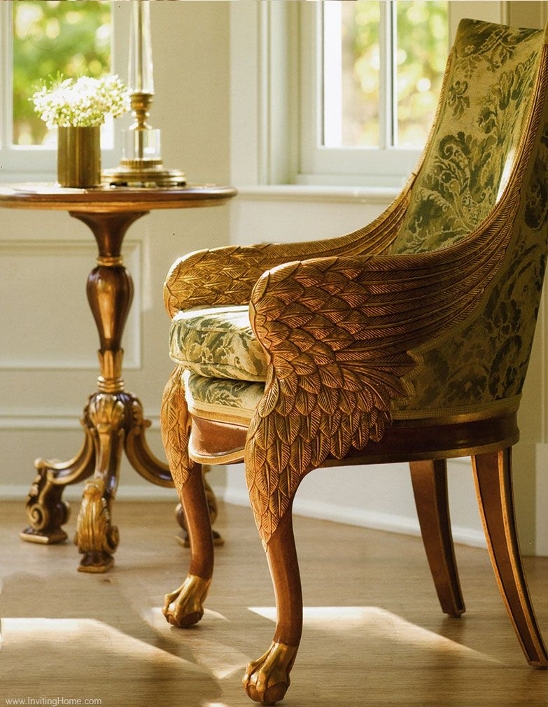 Carved Empire Style Wing Chair In Antiqued Gold Leaf Finish  # Muebles Easy Rosario
