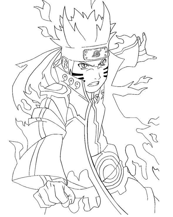 Naruto Bijuu Mode Coloring Pages For Kids Printable