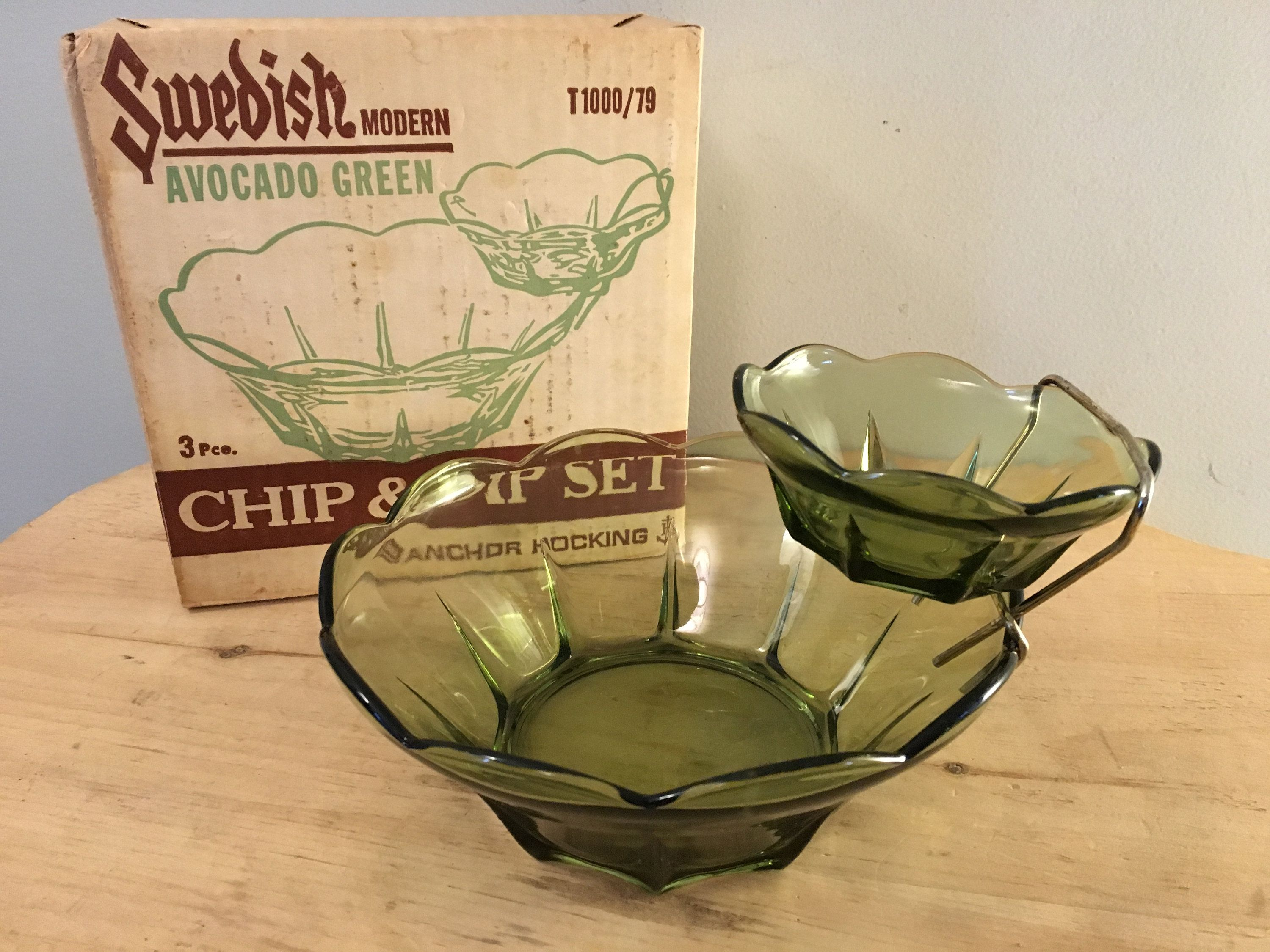 vintage green glass chip and dip server vintage anchor hocking green glass chip and dip server green 1960s chip and dip server