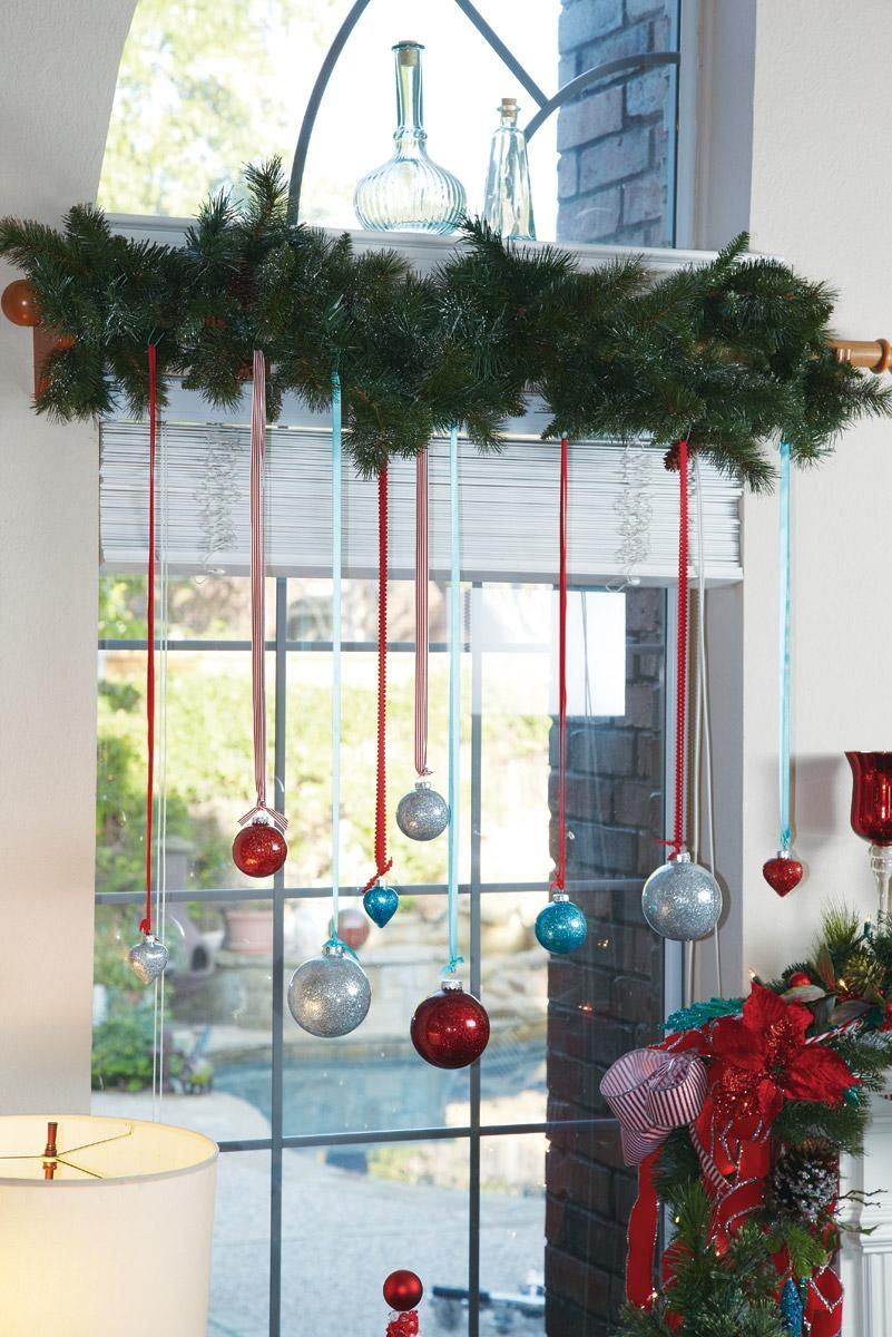 I Like This Idea Of Hanging Ornaments In The Windows Too Bad Cats Would Pull Them Down