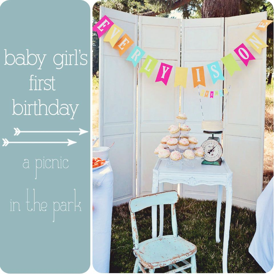 Baby girls vintage first birthday partypicnic in the park Vintage