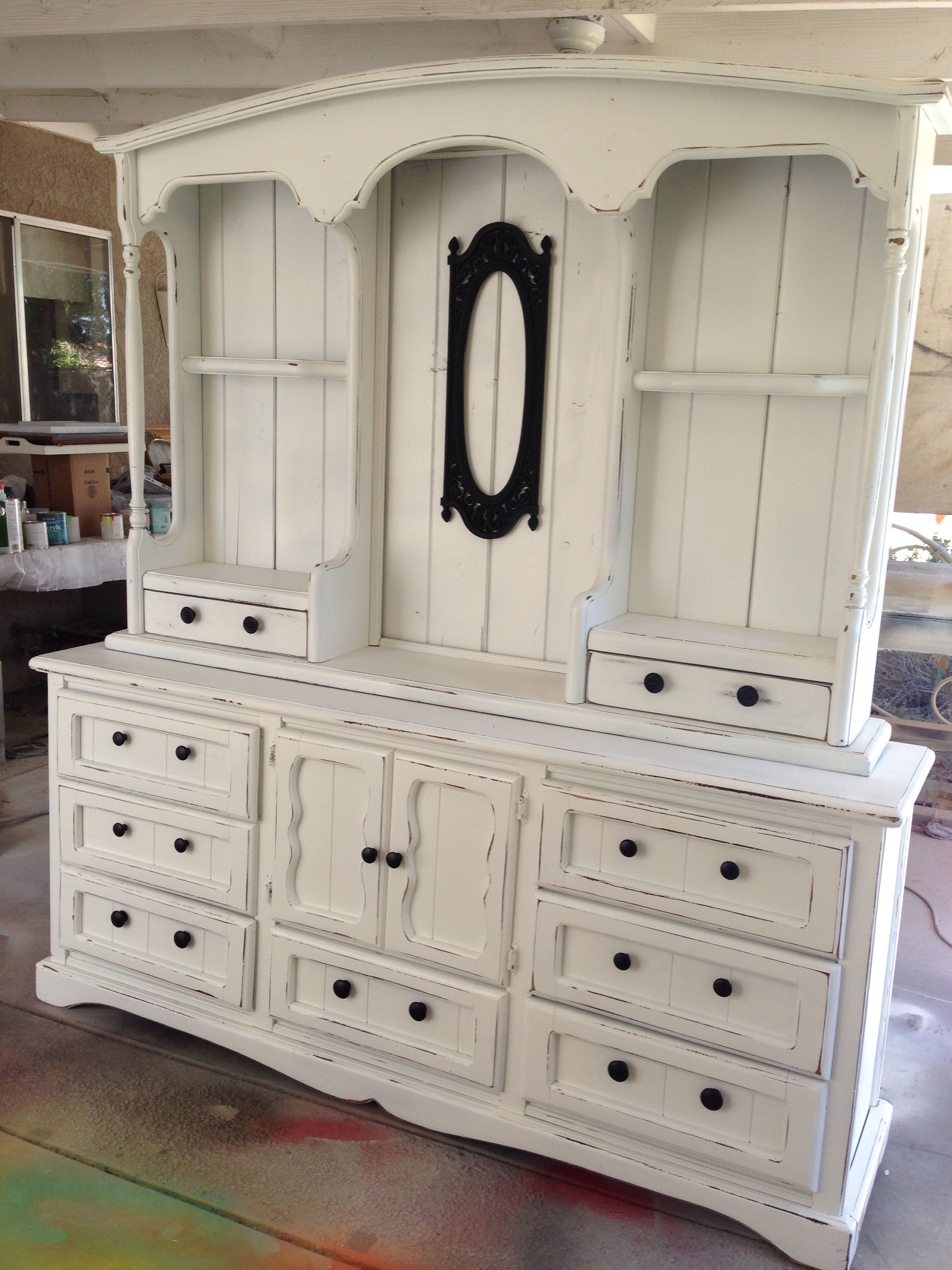 Old 70S Dresser Refreshed With White Paint And Black Knobs