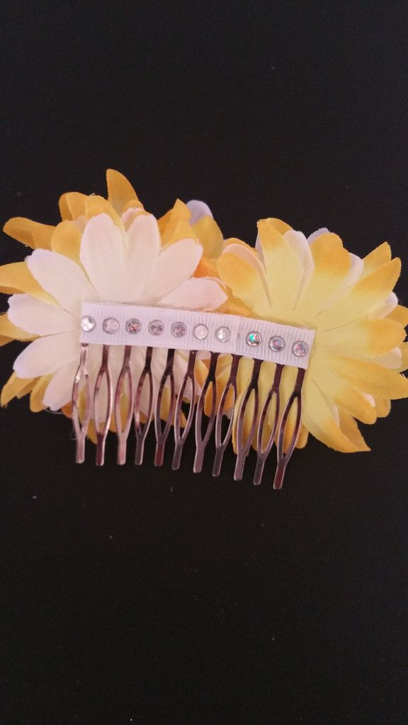 Yellow Floral hair comb. Beautiful and affordable. For more details stop by at www.criscreations.com