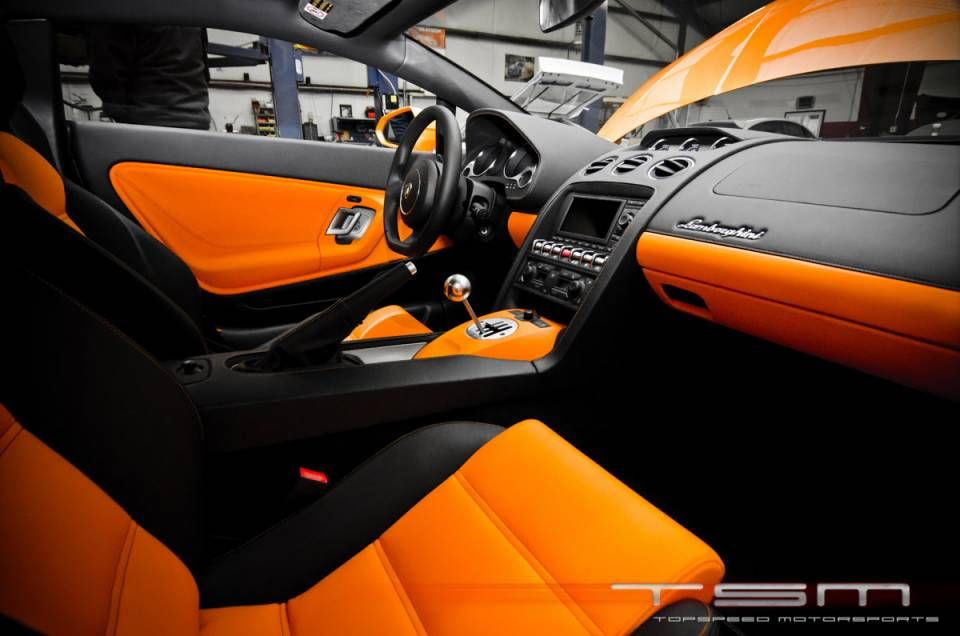 2012 Lamborghini Gallardo Interior Orange With Black Stitching Seats