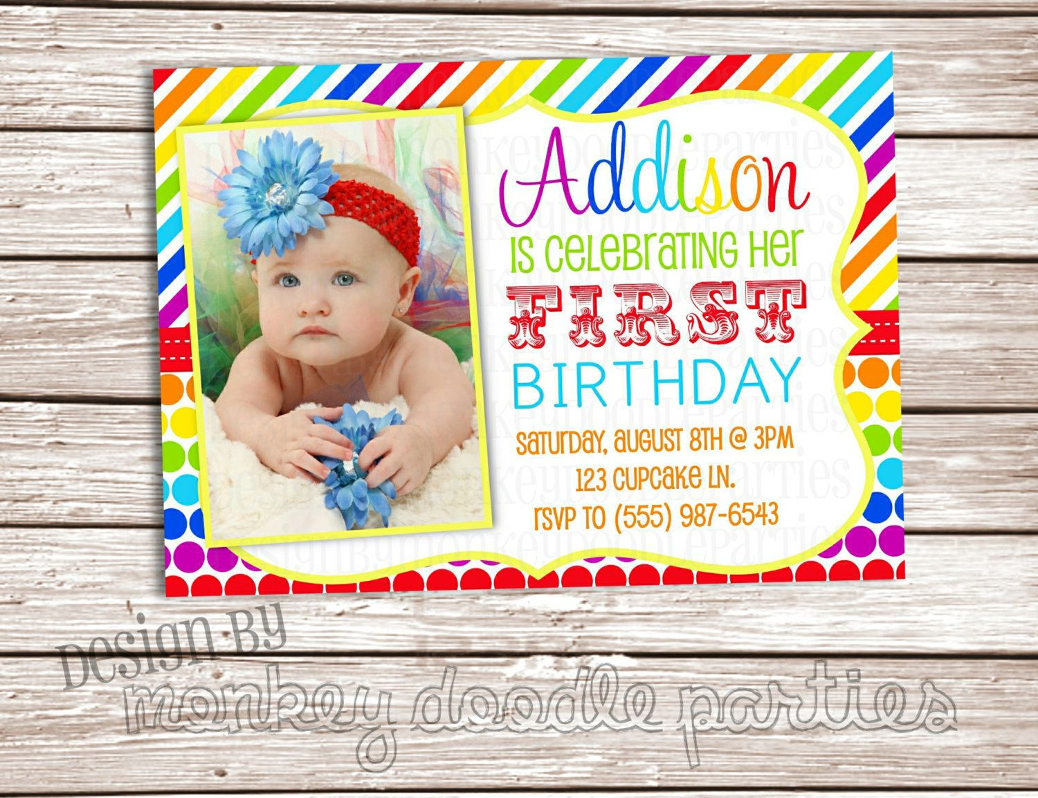 Couture Collection Rainbow Bright Stripes and Dots Custom Birthday Party Printable Invitation