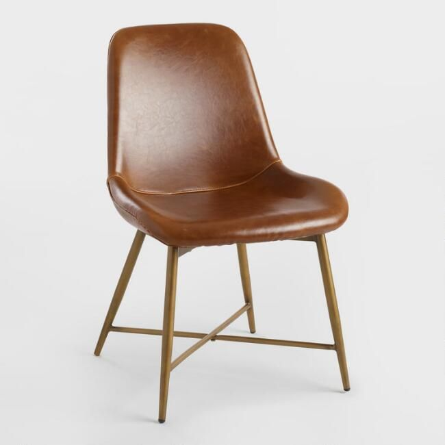 400 Cast Leather Mid Century Chairs Metal Legs Gold