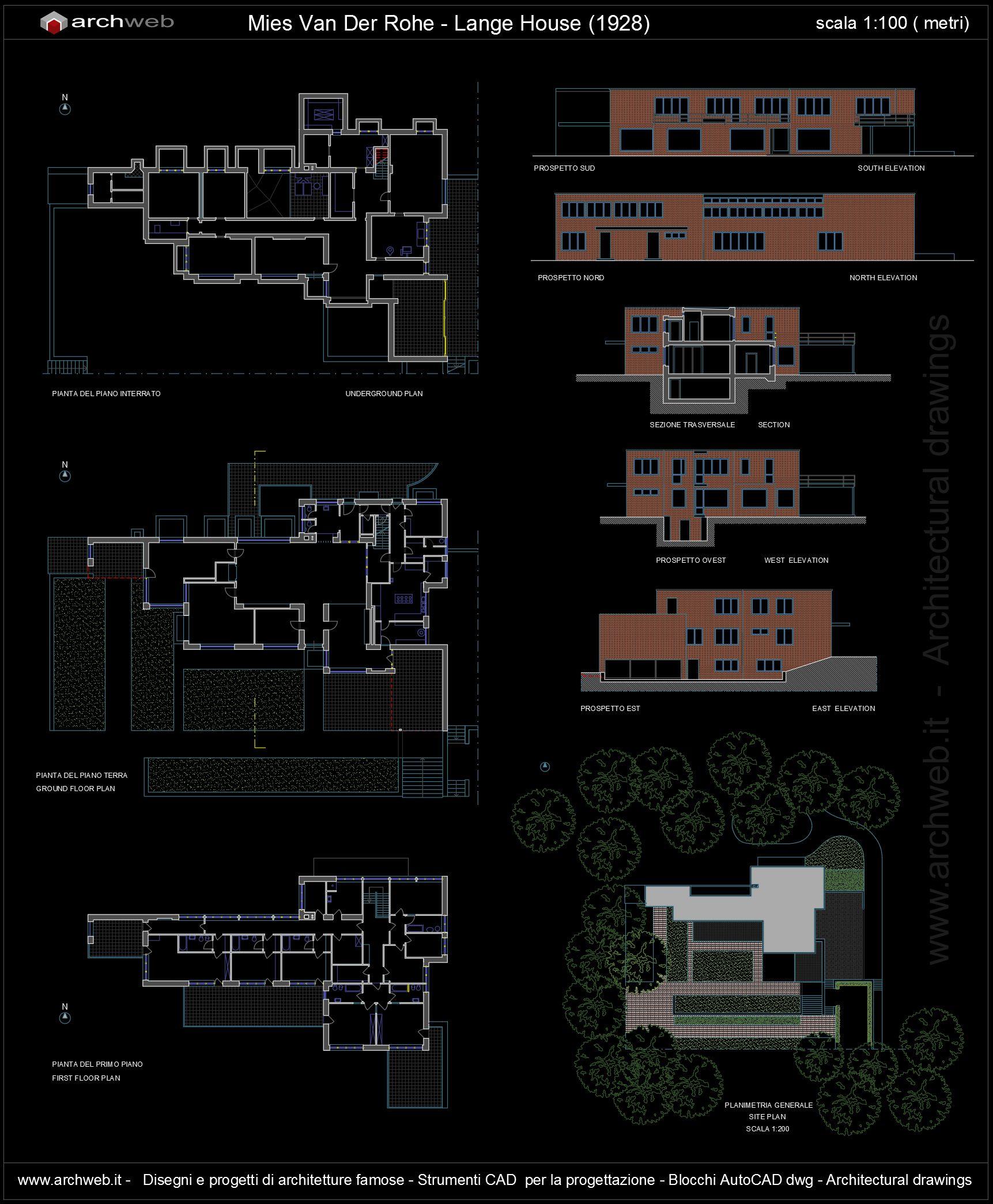 Lange House Autocad Dwg Plan Auto Cad Pinterest Autocad # Muebles Mies Van Der Rohe Autocad
