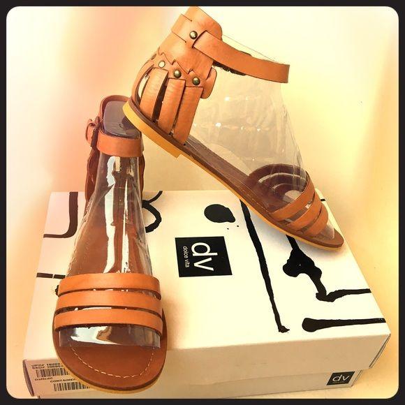 DV - Dolce Vita Daffodil Gladiator Sandal Leather gladiator sandal in brown (Honey Leather). Size 8.5 medium. Runs small, more like a narrow. DV by Dolce Vita Shoes Sandals