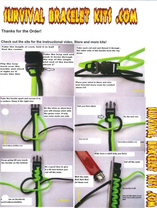 Survival Bracelet Instructions Includes Cord Buckles Type Iii