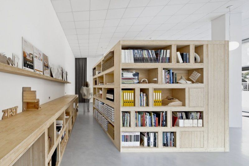 Functional Box Of Minimalist Office Interior Design Combining Two