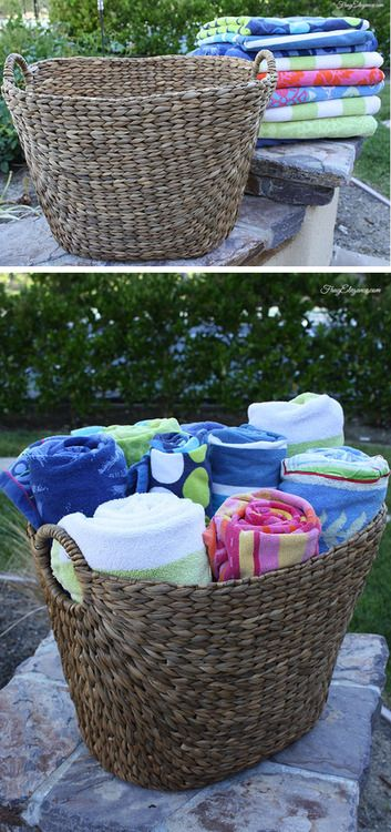 Basket Ideas Pool Party Colorful And Organized Way To Display Your Towels Also Perfect For Collecting Them For Th Pool Towels Pool Decor Pool Towel Storage