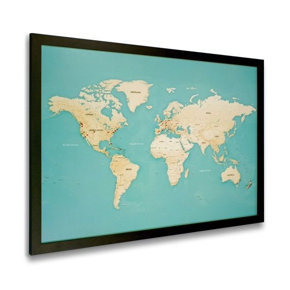 Modern world map with pins black frame homedecorstyle modern world map with pins black frame gumiabroncs Gallery