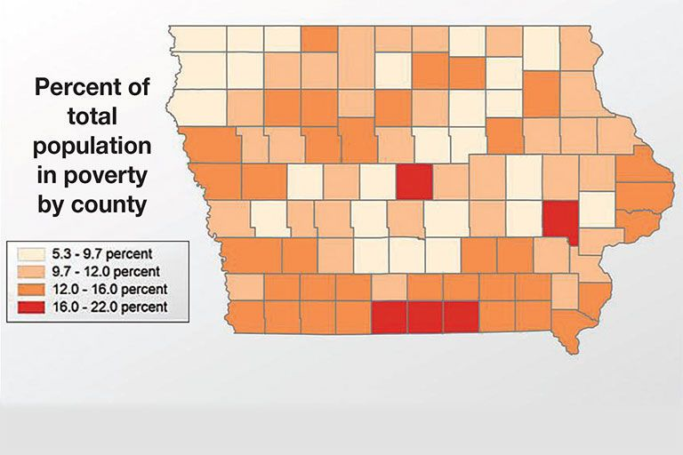 Ia population in poverty by county poverty words america