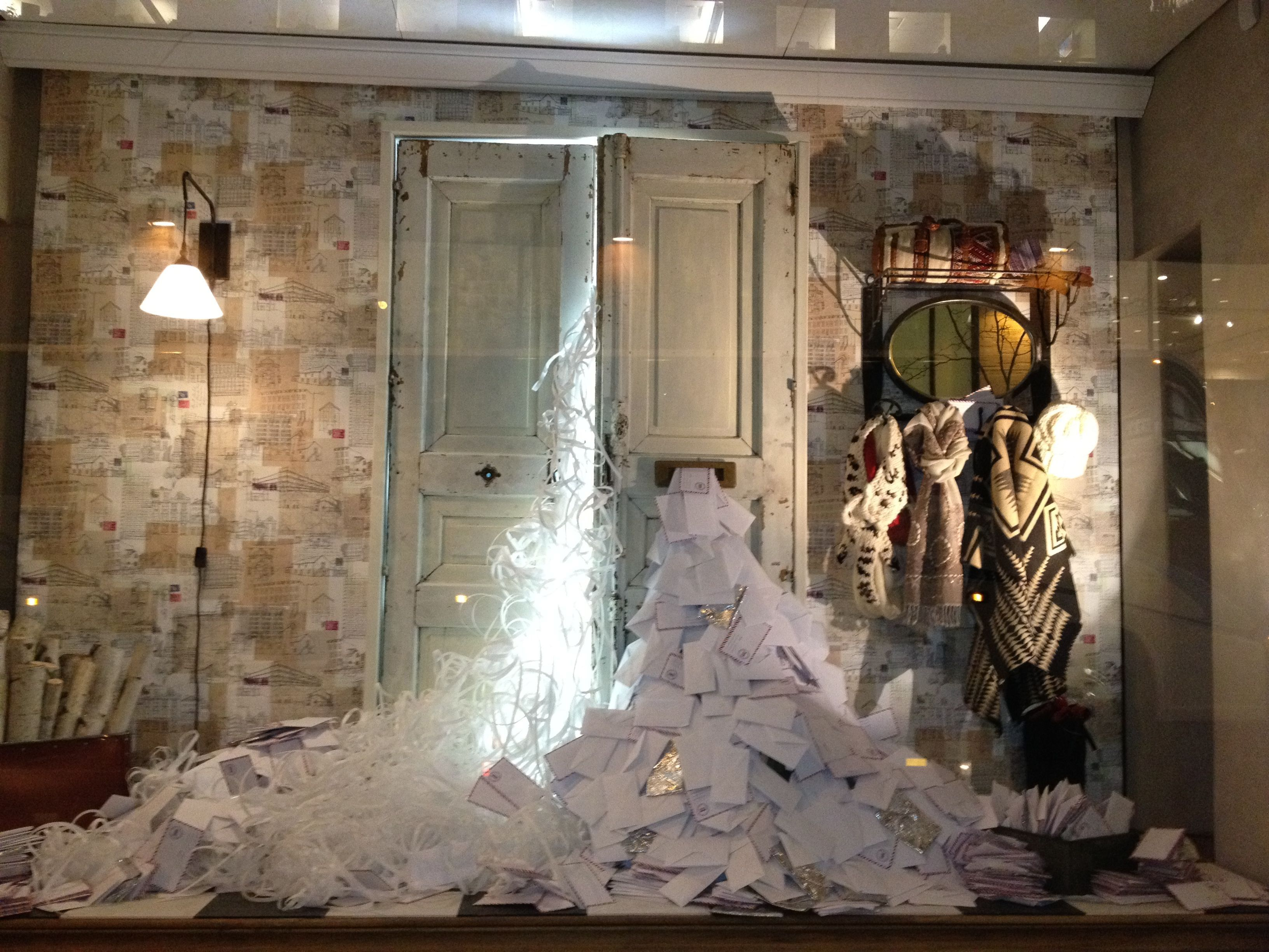 christmas window display anthropologie. Black Bedroom Furniture Sets. Home Design Ideas