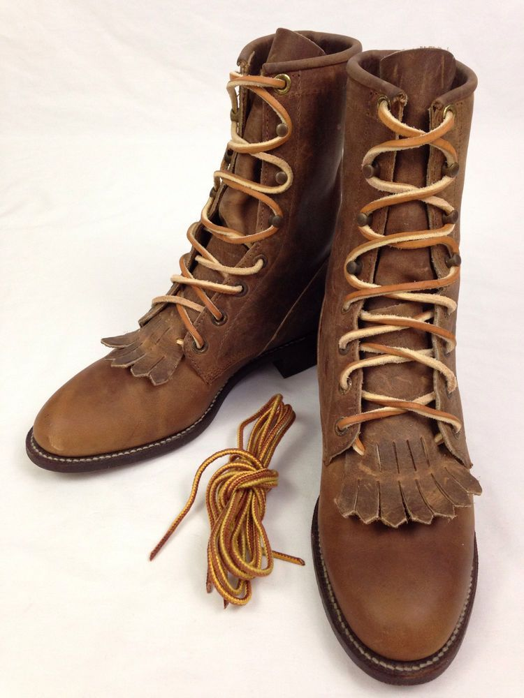 a683a24bc3e JUSTIN Boots Womens 4 B Brown Lace Up Leather Roper Cowboy Western ...