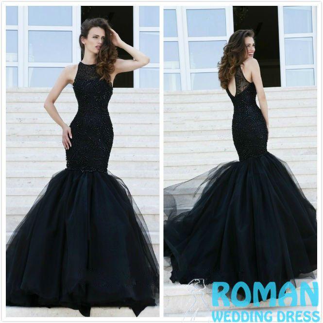 Black Mermaid Halter Dress