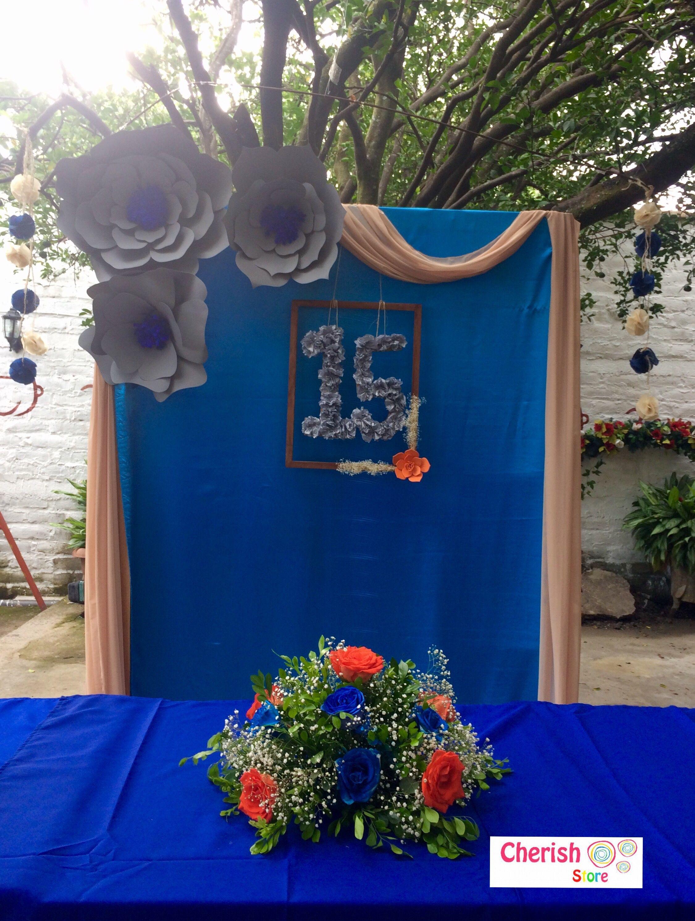 Rosas 15aos Cumpleaos Happybirthday Vintage Azul Blue