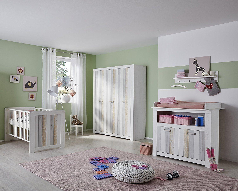 Babyzimmer 3 Teilig Kinderzimmer Kombination | Pinie Weiß | Babyzimmer Set  | Hochwertiges Babyzimmer