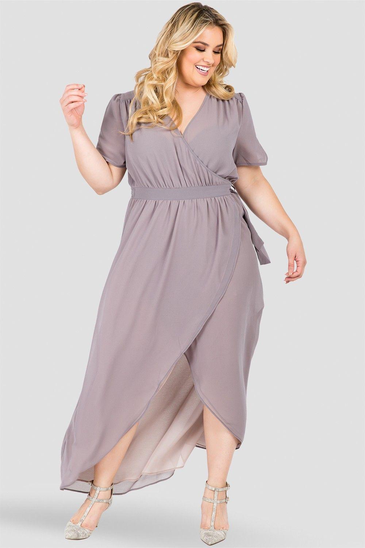 Plus Size Robin Short Sleeve V-Neck Maxi Dress Smokey Grey And Mauve ...