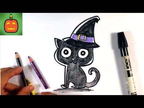 How To Draw A Cat In A Witches Hat Halloween Drawings Youtube Halloween Drawings Drawing Halloween Witch Drawing
