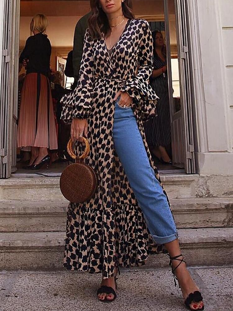 9bb5476b63 Bell Sleeve Leopard Belted Wrap Blouse