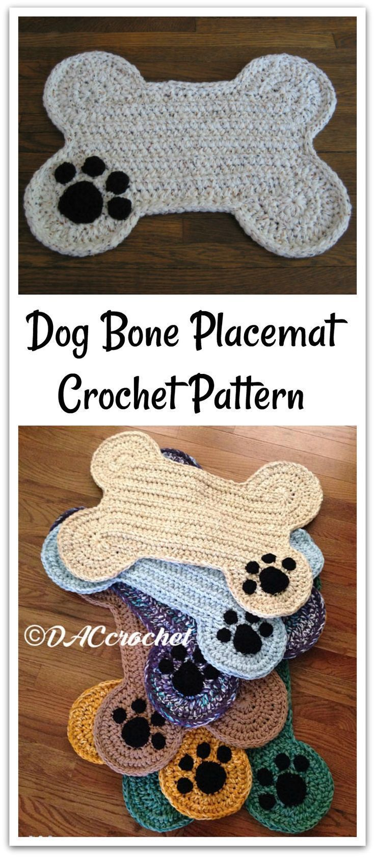 Crochet pattern only for a dog bone floor place mat 2
