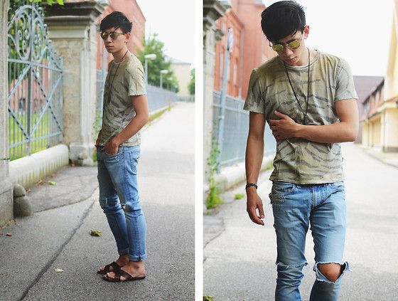 Just Cavalli Tiger Striped Shirt, Diesel Ripped Jeans, Topman Brown Sandals, Carrera Sunglasses #fashion #mensfashion #menswear #mensstyle #streetstyle #style #outfit #ootd