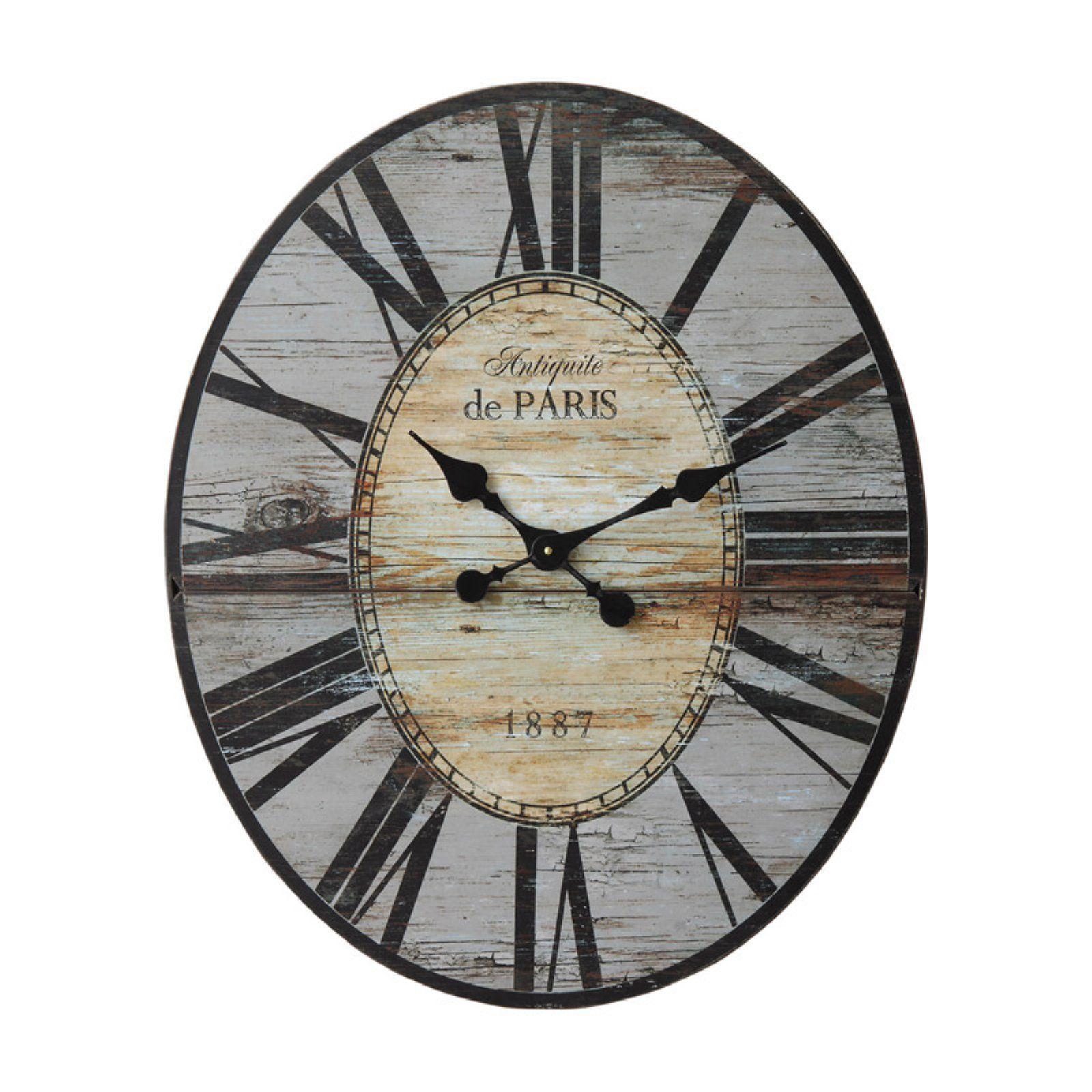 3r Studios 24 25 In Large Oval Grey Wall Clock In 2021 Paris Wall Clock Grey Wall Clocks Oversized Wall Clock