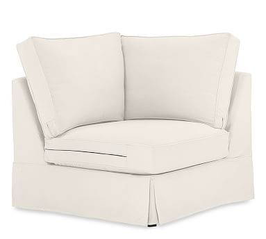 PB Comfort Slipcovered Corner, Box Edge Down Blend Wrapped Cushions, Performance Everydaylinen(TM) by Crypton(R) Home Ivory