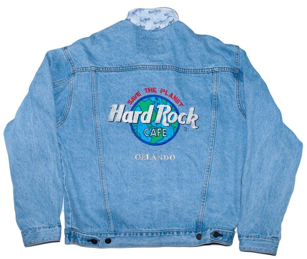 Hard Rock Cafe Orlando Denim Jacket Coat Save The Planet Mens Medium M Vintage  #HardRock #JeanJacket