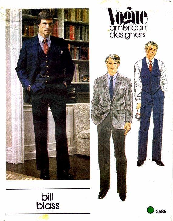 Men Suit Coat Sewing Patterns | 1980s Vogue 2585 Mens Bill Blass Pattern Suit Jacket Vest Pants Welt ...