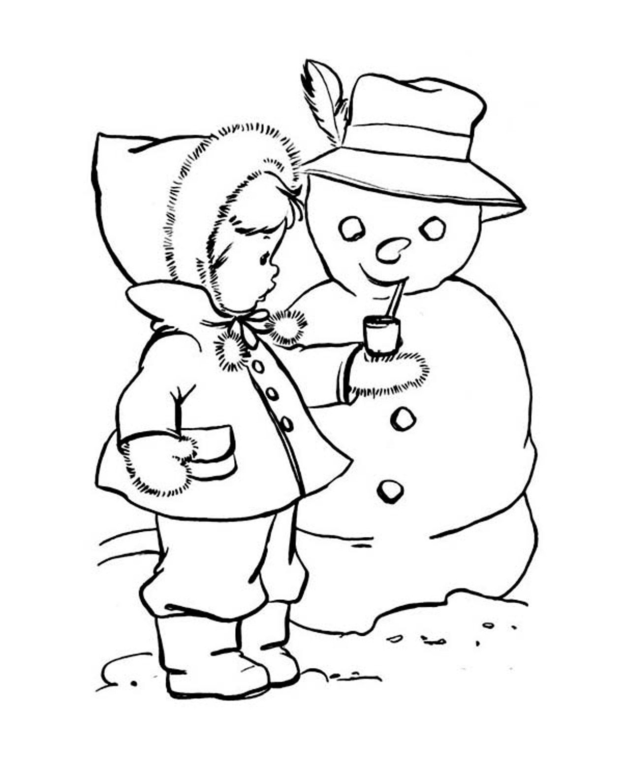 Winter Coloring, Coloring Pages Winter Cute Kid Putting A Pipe On ...