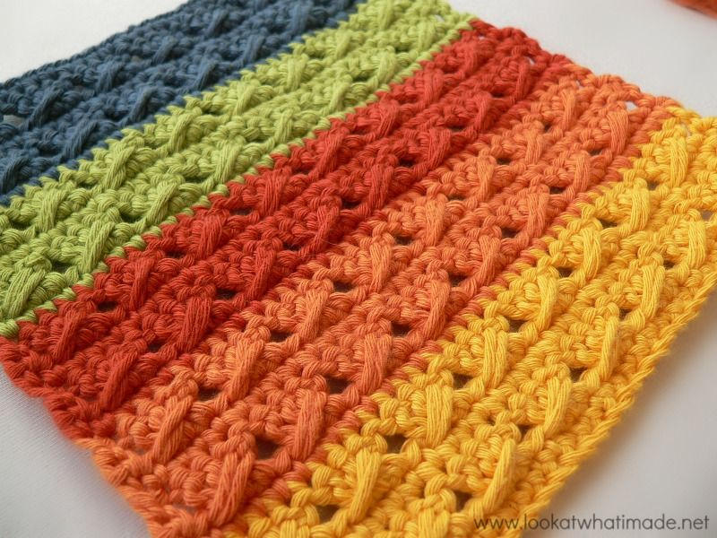 Cable Stitch Dishcloth { 2 Free Patterns} free crochet patterns ...