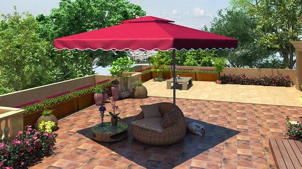 caa2102aa971 Red Patio Cantilever Umbrella Outdoor Sun Shade Vented Deck Porch Canopy S  #Unbranded #CantileverUmbrella