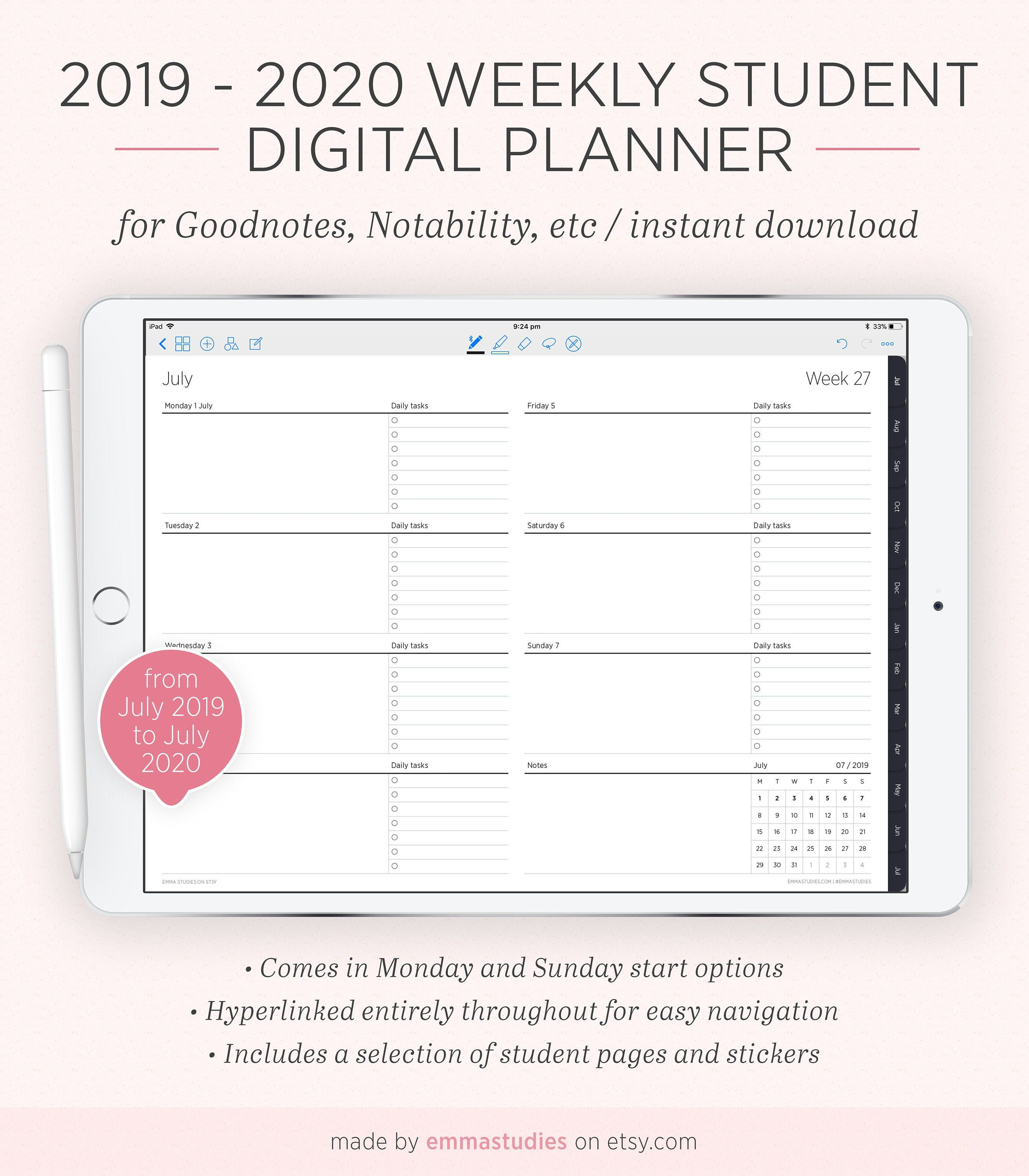 32 32 Digital Weekly Student Planner with Tabs   Portrait ...