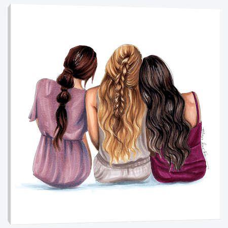 Best 12 Best friends - 4 best friends - friendship print - friend art - bestie - fashion illustration - fashion sketch - summer art - sister print - New Ideas