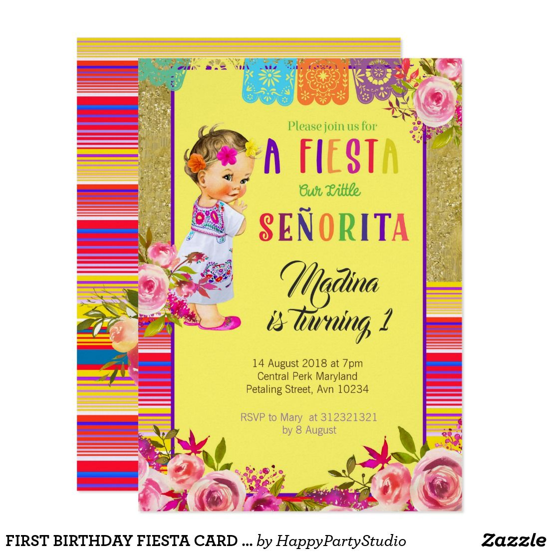 First Birthday Fiesta Card Mexican Zazzle Com Birthday