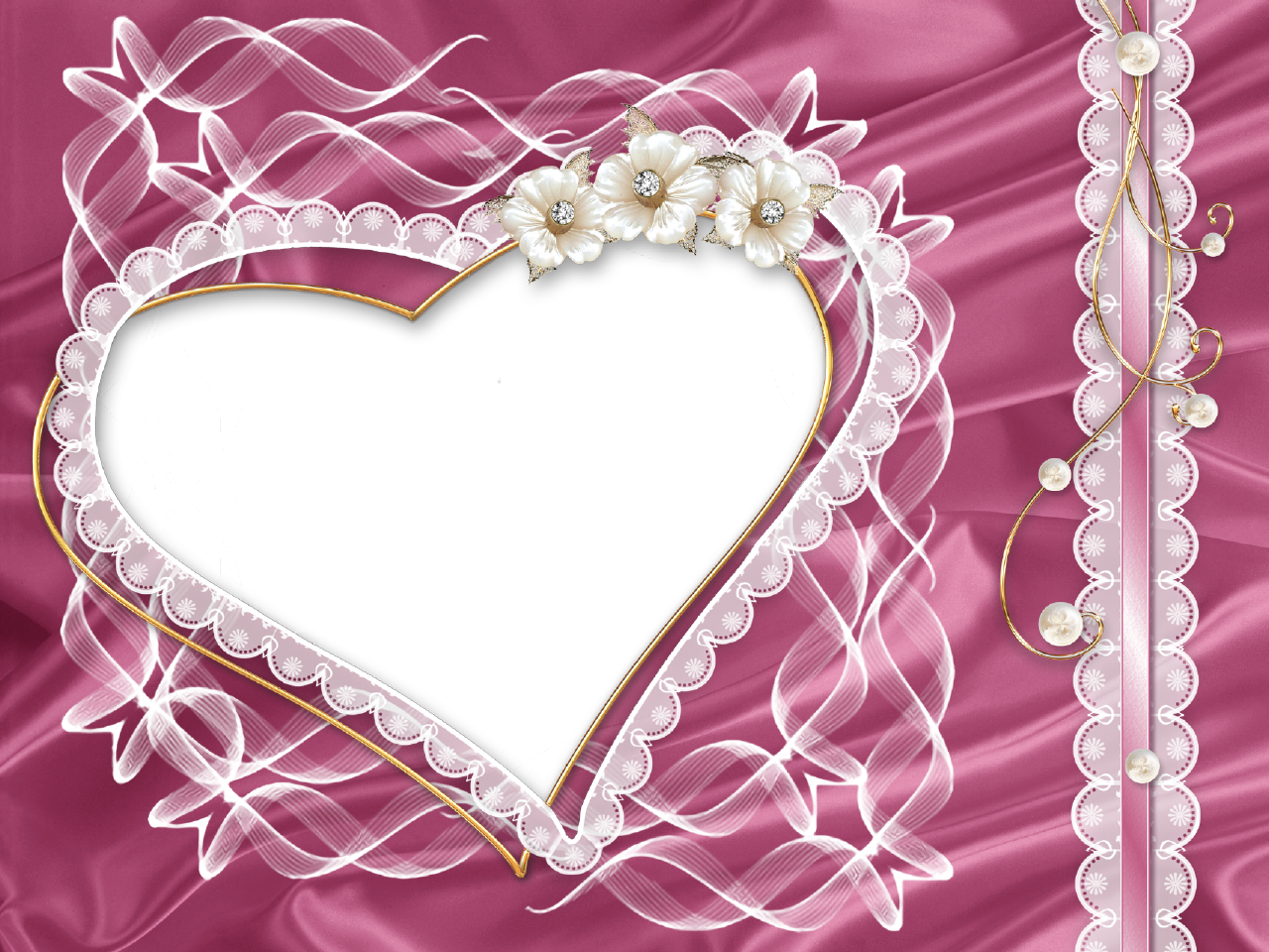 Purple heart borders and frames lacy border heart shaped purple transparent pink png photo frame with heart and flowers jeuxipadfo Gallery