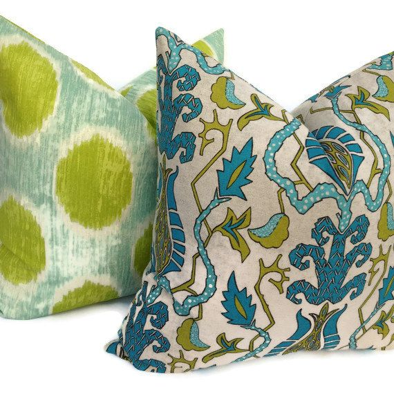 Suzani Both Decorative Pillow Cover Home Decor Fabric Blue Green Throw  Pillow Toss Pillow