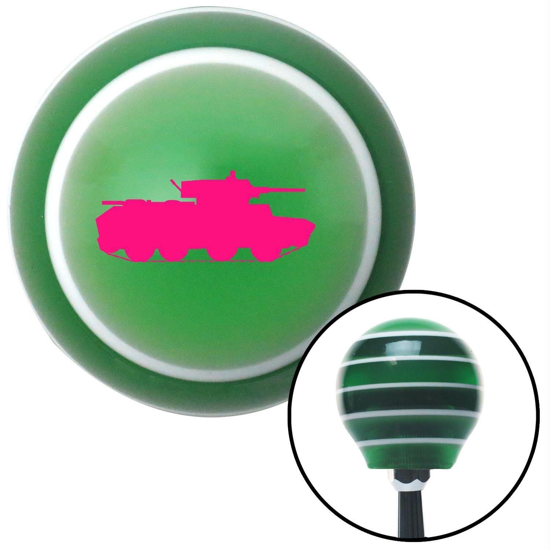 Pink Tank Green Stripe Shift Knob with M16 x 15 Insert