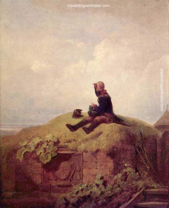 Carl Spitzweg Once upon a time (the knitting outpost) - Carl Spitzweg painting online, painting Authorized official website