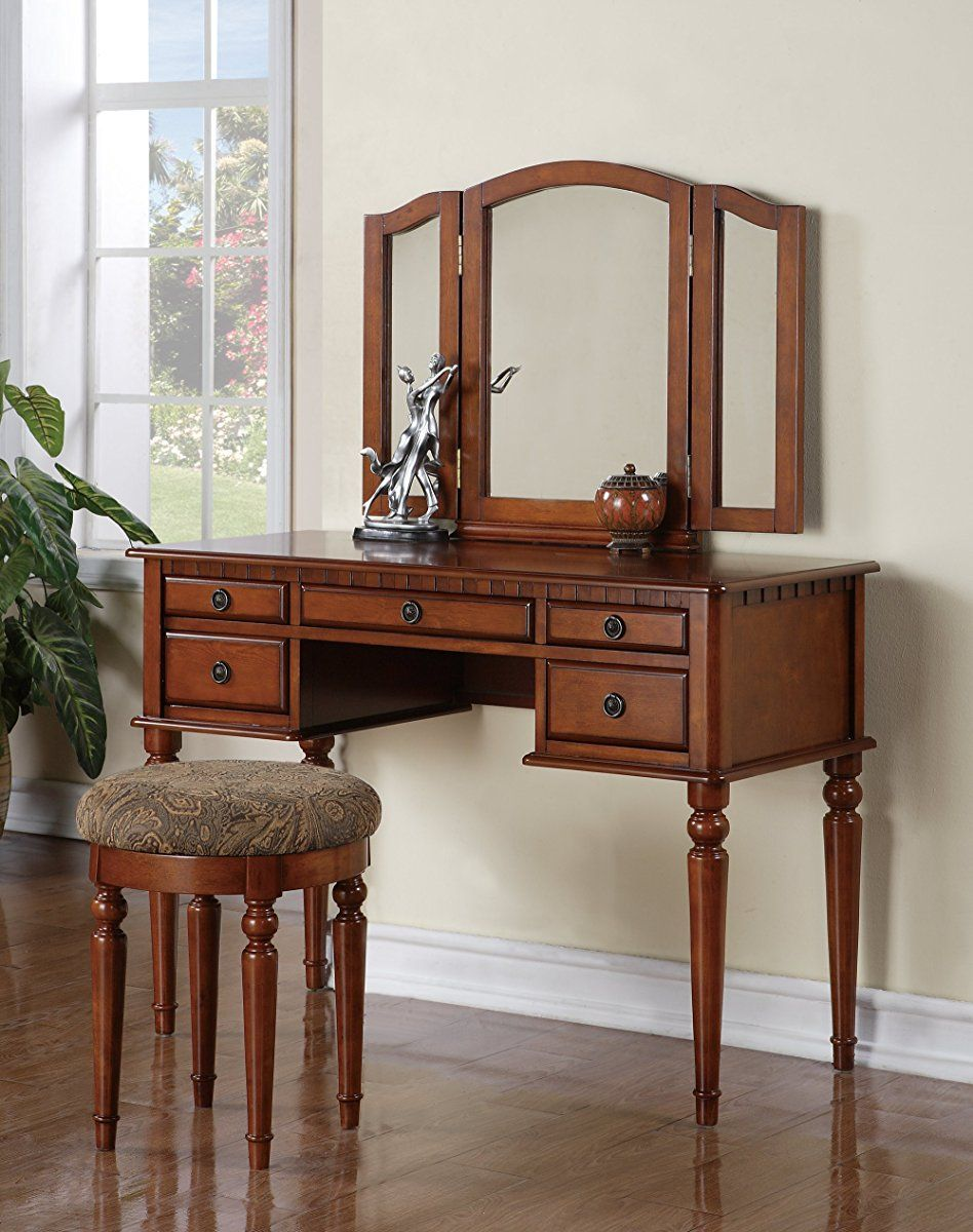 Mirrored Vanity Table And Stool: Bobkona St. Croix Collection Vanity Set With Stool, Walnut