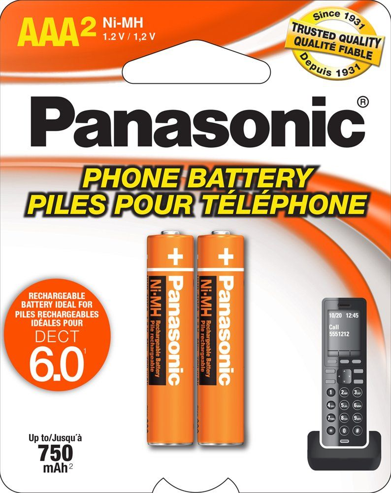 Panasonic Genuine Aaa Nimh Rechargeable Batteries For Dect Cordless Phones 2 Pack Cordless Phone Rechargeable Batteries Panasonic