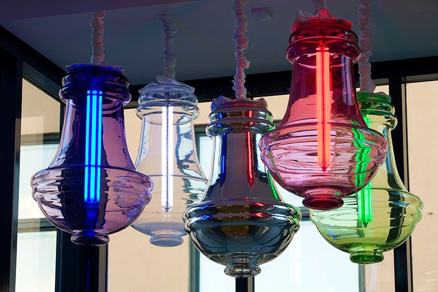 """Anna Berglund's crystal chandelier Bling Bling is just one of some 200 works on view in the exhibition """"Glass Is Tomorrow"""" at the Nationalmuseum Design in Sweden."""