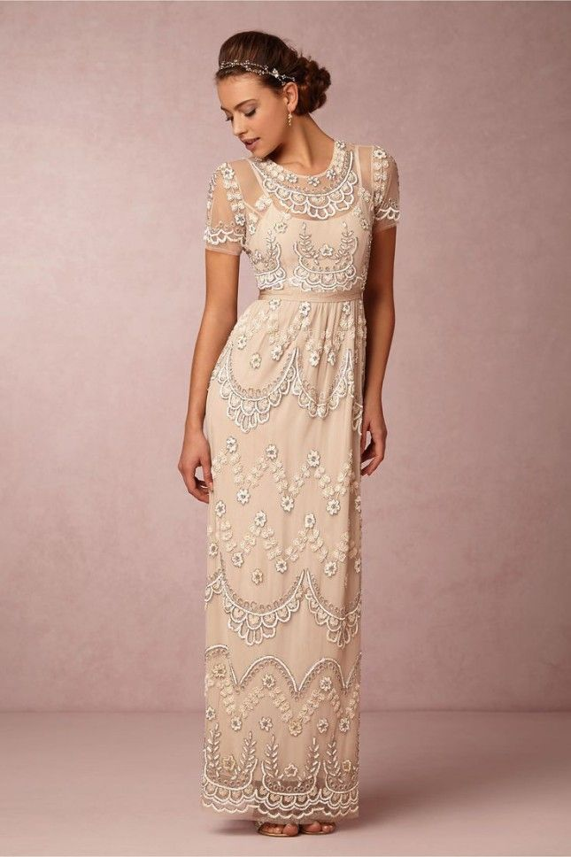 Go for a vintage vibe with this beaded rose dress.