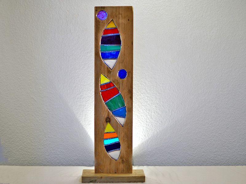 Deko-Objekte - Buntes Glas und Treibholz, Deko mit ...