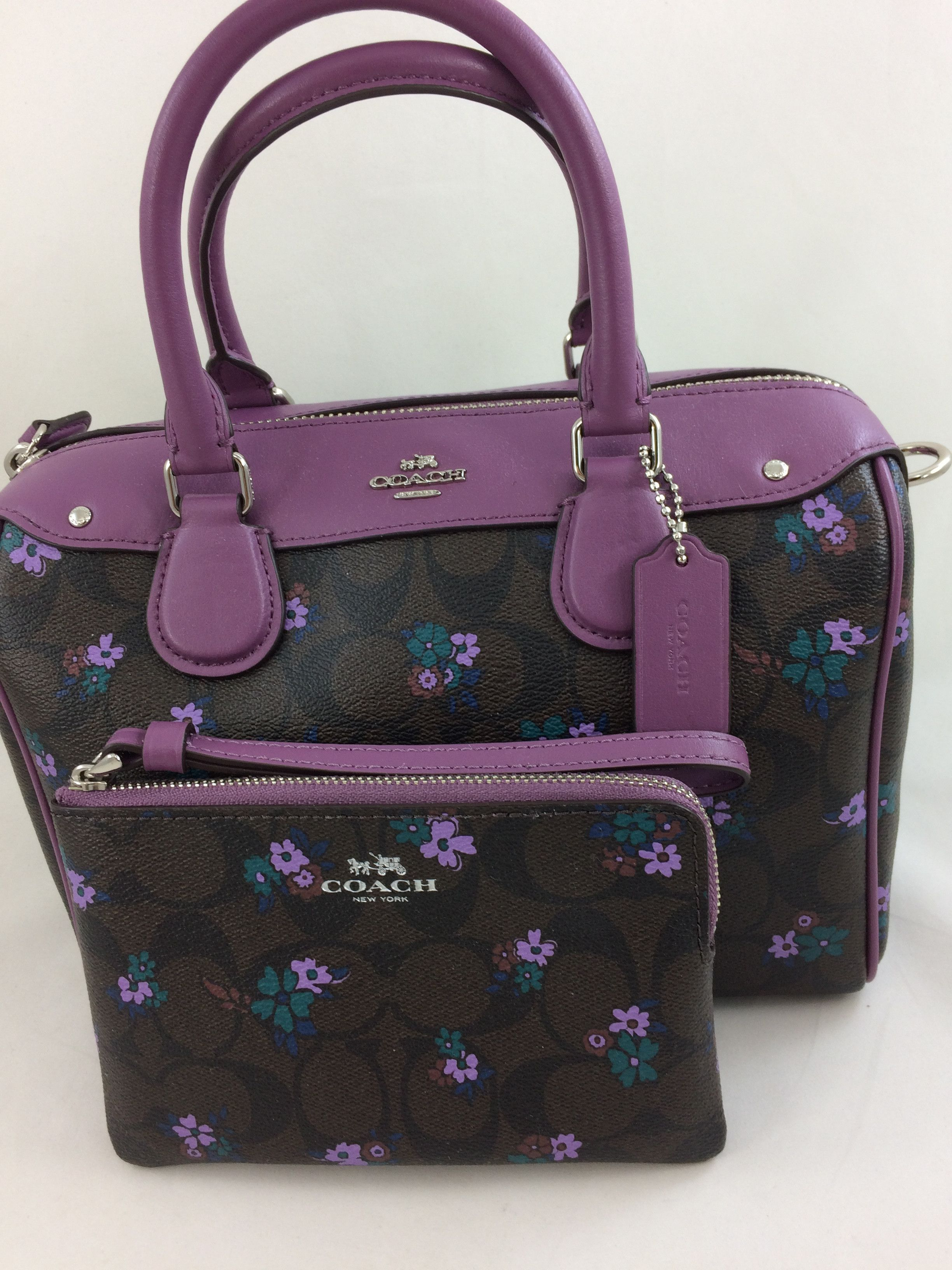 New Authentic Coach F59461 Mini Bennett Satchel in Ranch Floral Print Brown  Purple Multi+ Wristlet Set ec9feaf6541c4