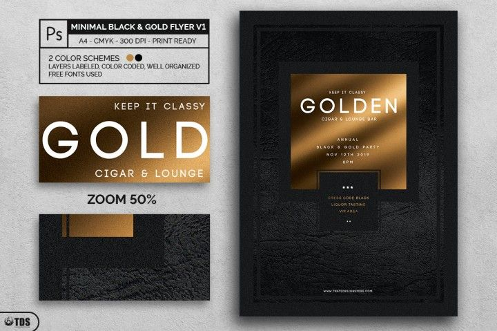 Minimal Black And Gold Flyer Template V By Thats Design Store  The